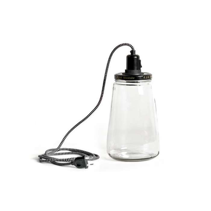 lampe bocal recycl fil noir pour ampoule filament rose bunker. Black Bedroom Furniture Sets. Home Design Ideas