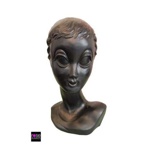 Tête a Chapeaux Déco Vintage noire originale -Twiggy