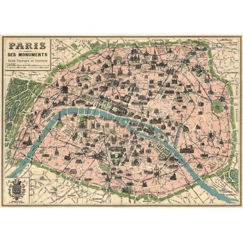 POSTER AFFICHE VINTAGE, PLAN DE PARIS
