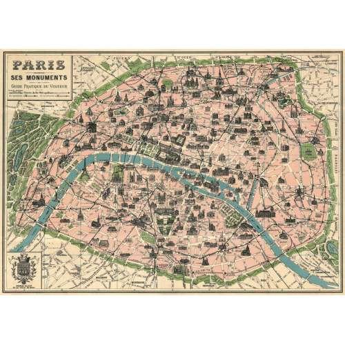 Plan de Paris Poster Affiche Vintage - Cavallini