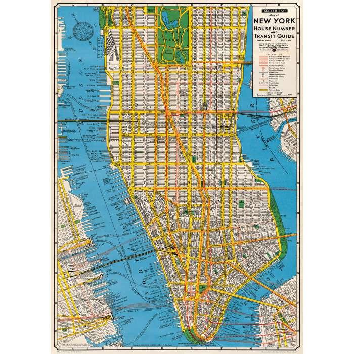 poster affiche plan new york manhattan vintage. Black Bedroom Furniture Sets. Home Design Ideas