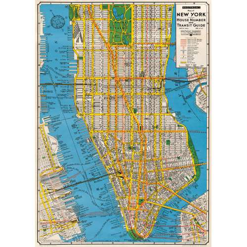 Poster affiche plan New York Manhattan vintage
