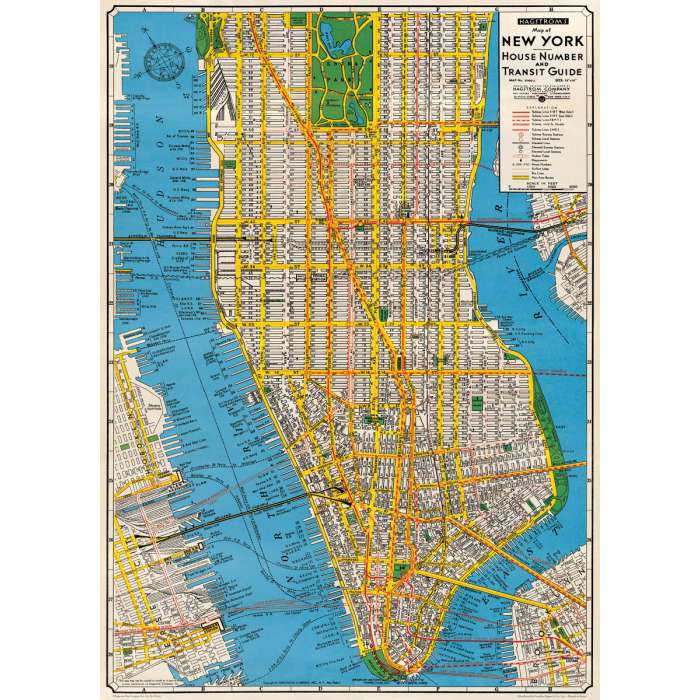 POSTER AFFICHE VINTAGE, NEW YORK CITY, MANHATTAN