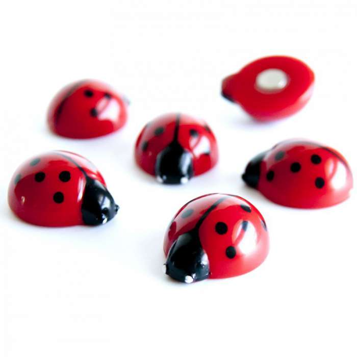 aimants magnets 6 coccinelles pour le frigo rose bunker. Black Bedroom Furniture Sets. Home Design Ideas