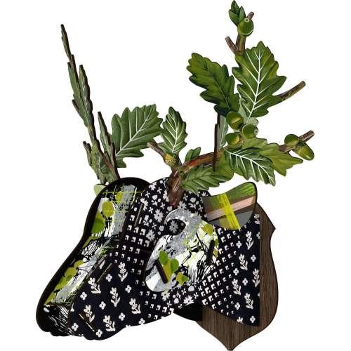 "Trophée Tête de Cerf ""Lover's Oak"" - MIHO"