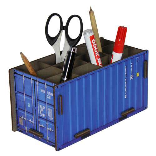 Pot à crayon, container bleu