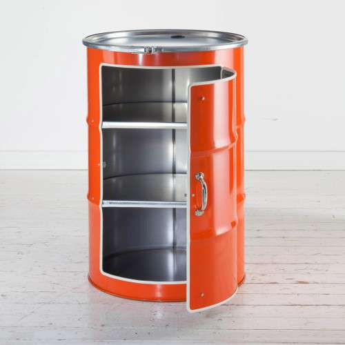 Meuble en bidon recyclé orange type meuble industriel