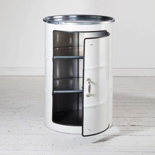 Meuble en bidon recyclé blanc type meuble industriel