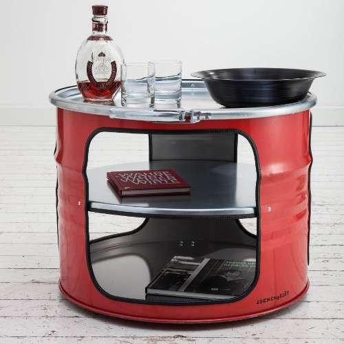 Table basse en bidon d'huile recyclé, table indus rouge