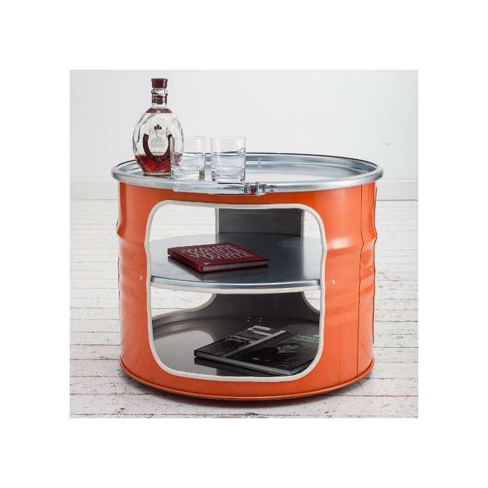 Table basse bidon recyclé orange - meuble type industriel