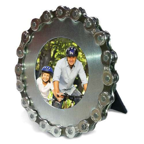 VELO: CADRE PHOTO CHAINE RECYCLEE Cadre rond, Argent