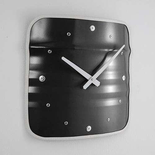 BIDON: HORLOGE- NOIR Grande horloge recyclée