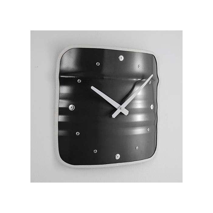 Horloge en Bidon Recyclé, horloge Métallique noir