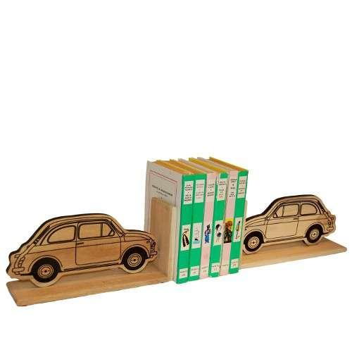 Serre-livres (lot de 2) bois recyclé Fiat 500