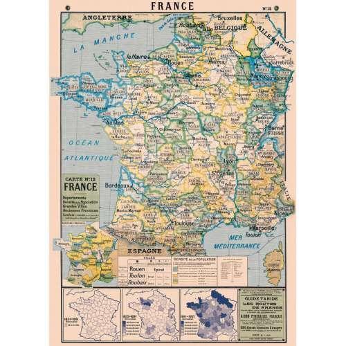 Affiche Poster carte de la France département - Cavallini