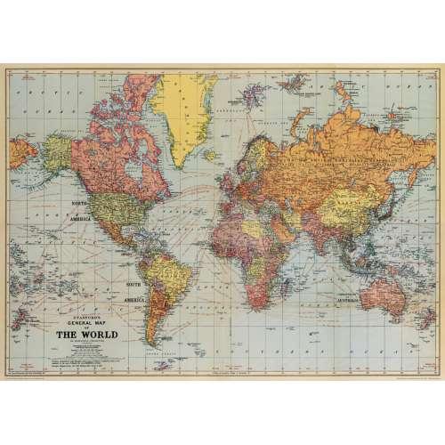 Poster Affiche Planisphère vintage - CAVALINI