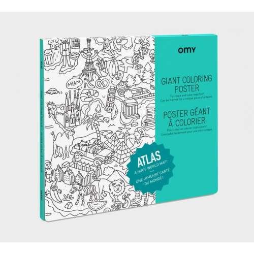 Poster à Colorier géant du monde l'Atlas - OMY