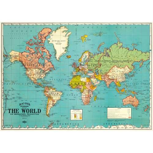 Poster Affiche Planisphère vintage bleu - CAVALINI