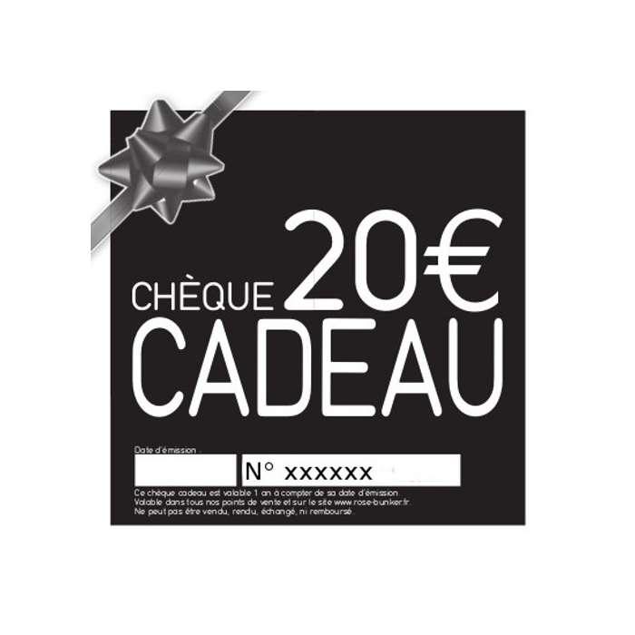 Chèque Cadeau 20€, belle Idée Cadeau