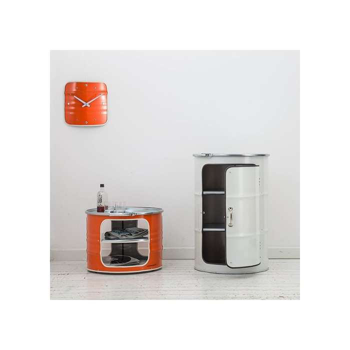 horloge bidon recycl orange type meuble industriel. Black Bedroom Furniture Sets. Home Design Ideas