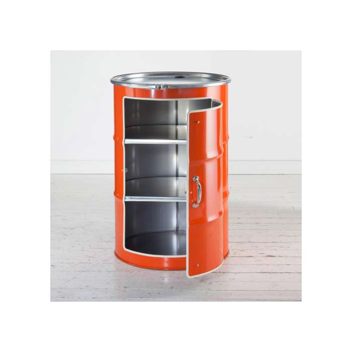 meuble bidon recyclé orange
