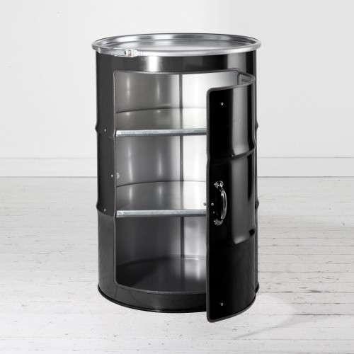 Meuble en bidon recyclé noir type meuble industriel