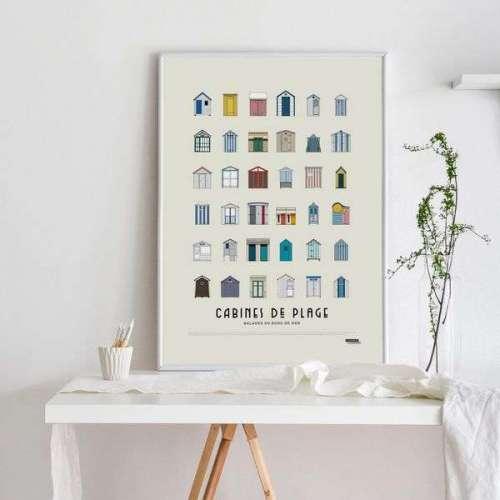 Affiche , Cabines de Plages, Poster Bord de Mer
