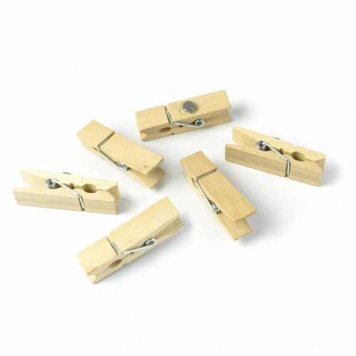 Aimants magnets 6 pinces à linge bois pour le frigo