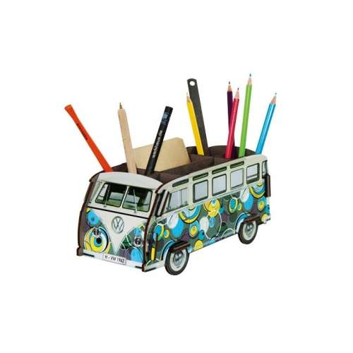 Pot à crayon en bois, combi vw pop art