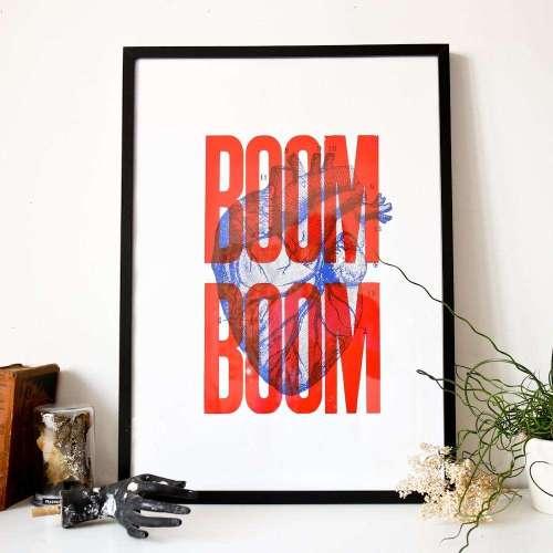 Affiche Cœur Boom-Boom, Sérigraphie