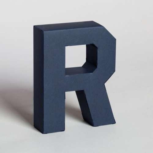 Lettre en 3D en carton à monter soi-même, Bleu