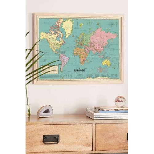 Affiche Carte du monde, planisphère actualisé