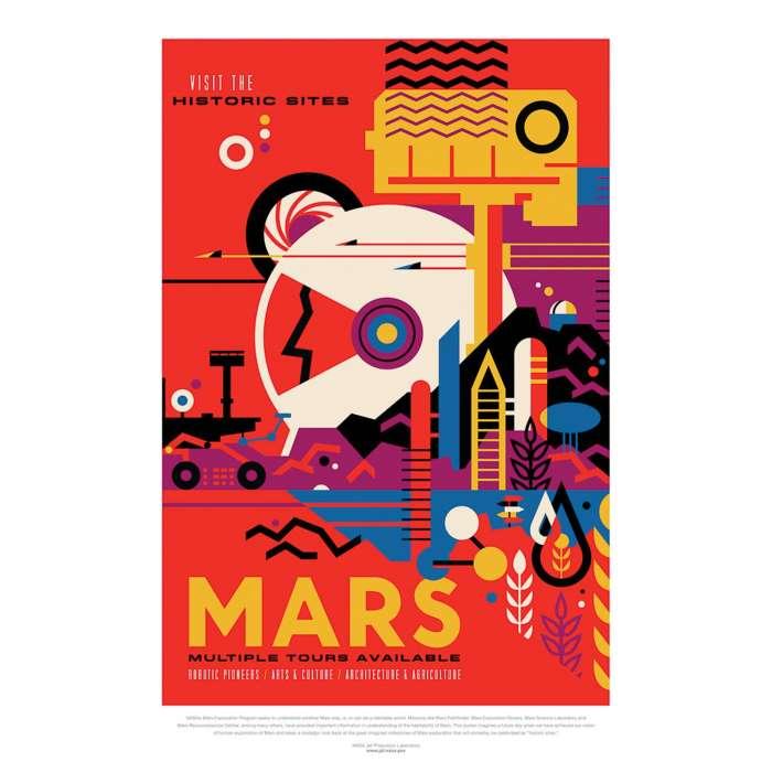 Poster NASA, Mars, Voyage espace rétro-futuriste
