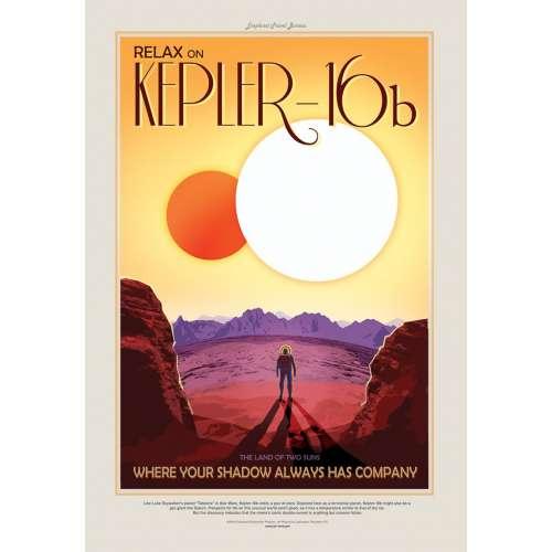 Poster NASA, Kepler, Voyage espace rétro-futuriste