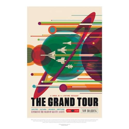 Poster NASA, Grand tour, Voyage espace rétro-futuriste
