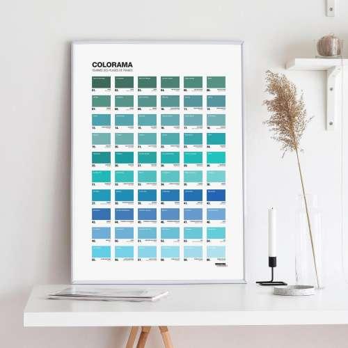Poster , Colorama des Plages, Affiche bleu Pantone