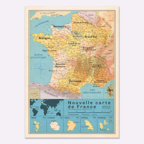 Affiche Carte de France, nouvelle région