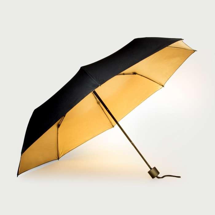 Parapluie Noir avec Doublure Dorée, compact