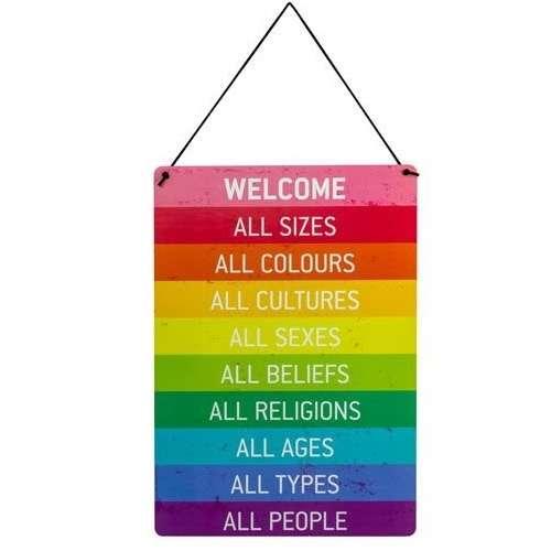 Panneau de Bienvenue, Welcome, Peace, en bois - Werkhaus