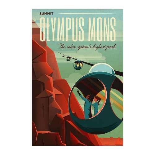 Poster NASA, Olympus mons, Voyage espace rétro-futuriste