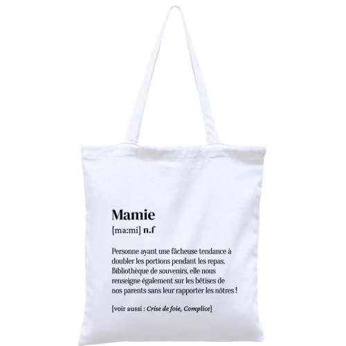 Totebag, sac coton réutilisable, Mamie