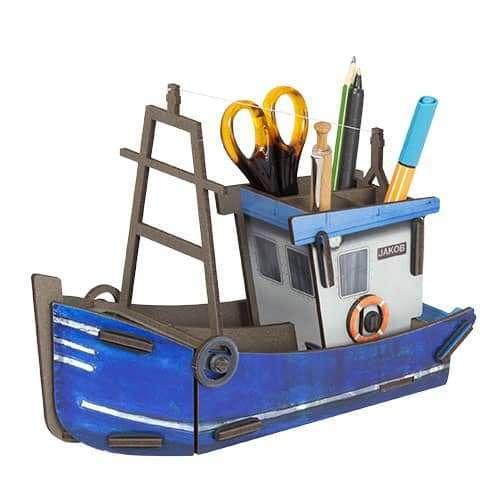 Pot à Crayon Bateau de Pêche en bois - Werkhaus