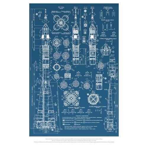 Poster NASA , Plan de la fusée russe Soyouz