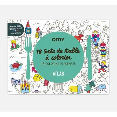 Sets de table originaux à colorier Atlas - OMY